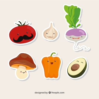 Collection of six funny vegetarian foods