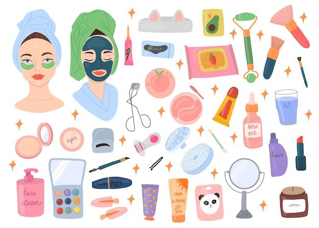 스킨 케어 루틴 아이콘 컬렉션 아름다운 젊은 숙녀와 다양한 화장품.