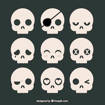 Коллекция черепов с выражениями