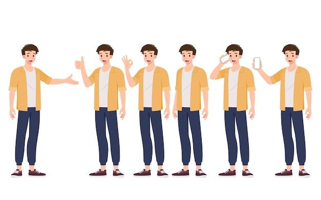 흰색 배경에 격리된 다른 제스처 스타일로 웃고 있는 잘생긴 젊은 남자의 컬렉션입니다. 10대의 다양한 포즈를 취하는 남자들의 집합입니다.