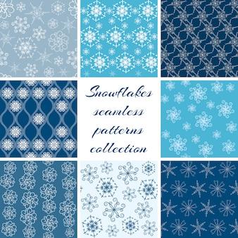 スノーフレークシームレスパターンセットのコレクション