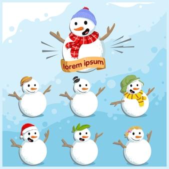 Коллекция симпатичного персонажа снеговика для иллюстрации зимнего сезона