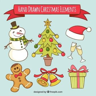 クリスマスの要素描かれた手で雪だるまのコレクション