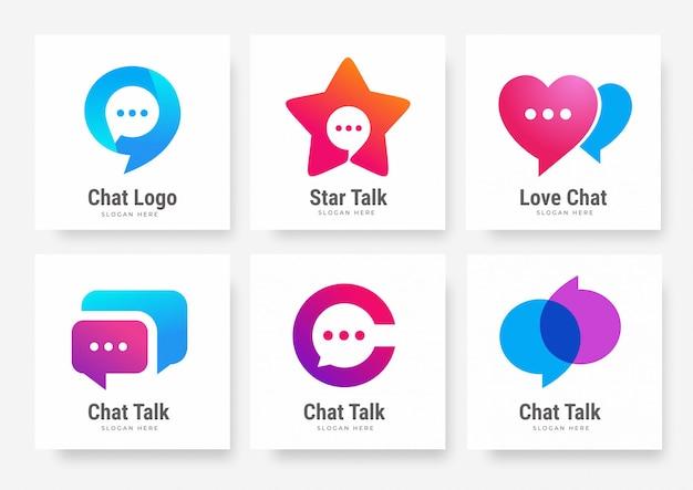 ソーシャルチャットトークのロゴのテンプレートのコレクション