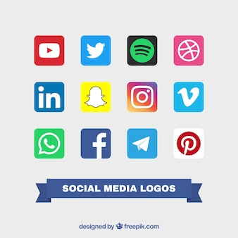 Collection of social logos color logos