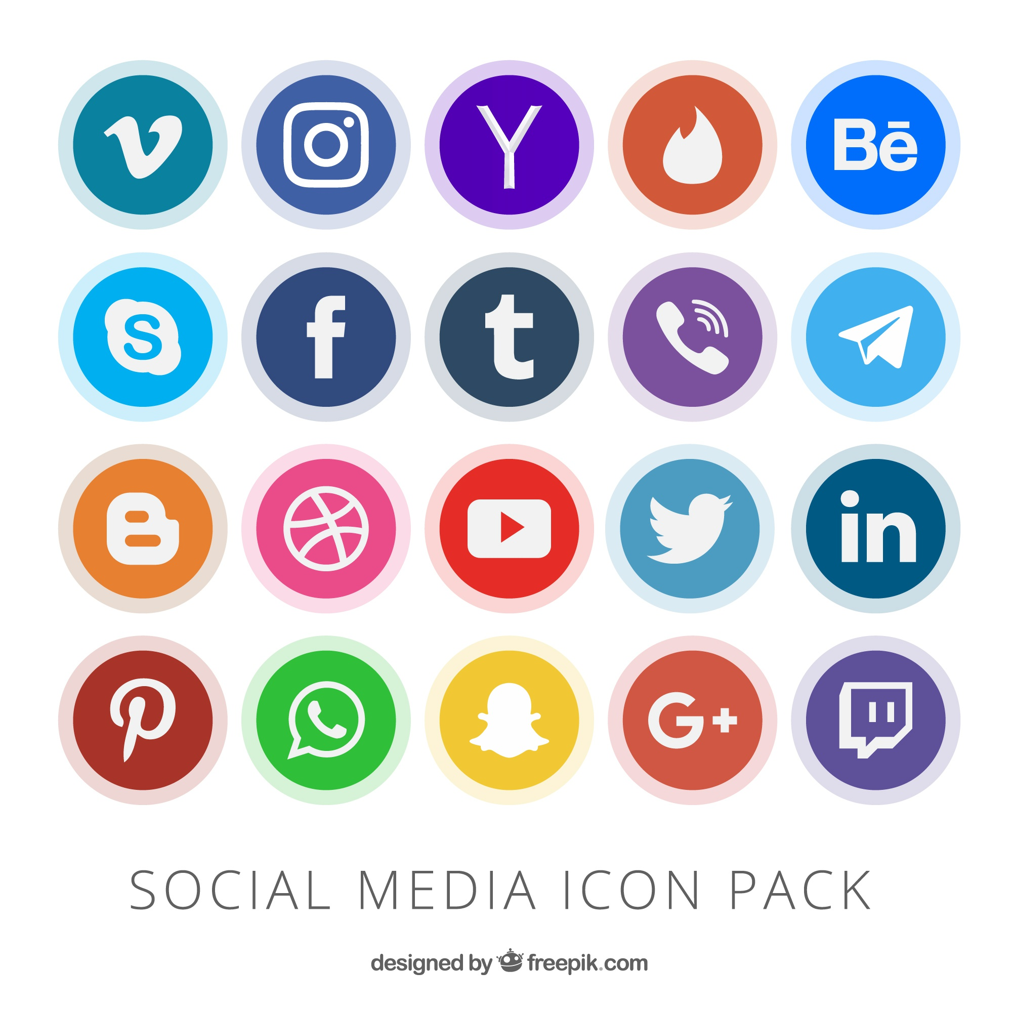 Collection of social media button