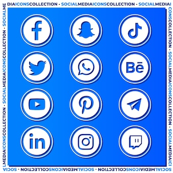 Коллекция значков социальных сетей на синей градиентной поверхности