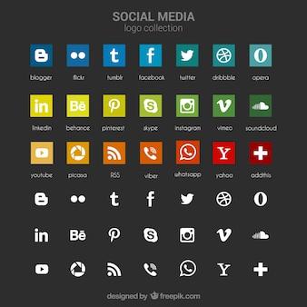소셜 미디어 아이콘의 컬렉션