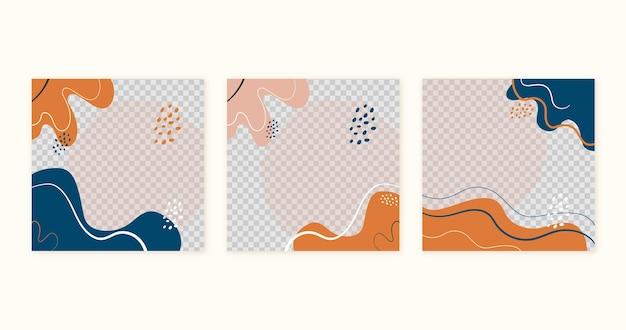 茶色のオレンジと青の流動的な形のソーシャルメディアテンプレートのコレクション