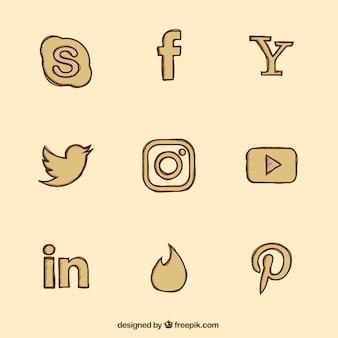 Collection of social media vintage hand drawn icons