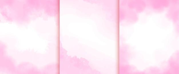 柔らかい抽象的なピンクの水彩画の背景のコレクション
