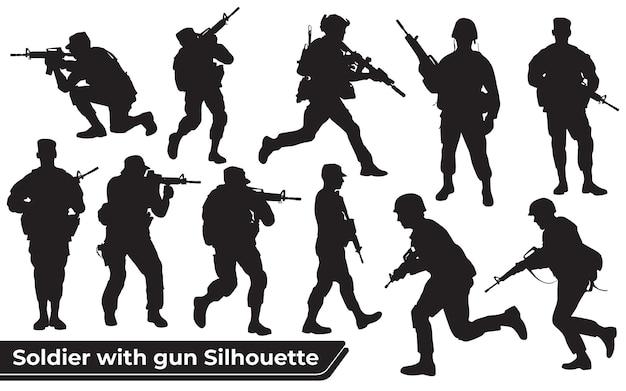 さまざまなポーズで銃のシルエットを持つ兵士のコレクション