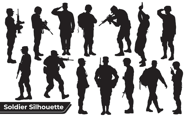 다른 포즈에서 총 실루엣을 가진 군인의 컬렉션