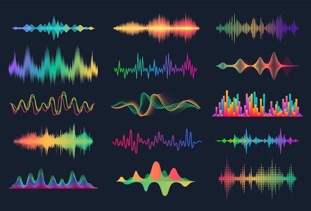 Коллекция звуковых волн, изолированных на черном