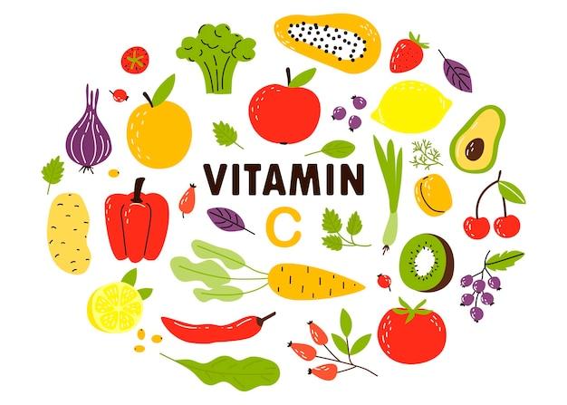 ビタミンcの供給源のコレクション。果物と野菜。漫画フラットイラスト
