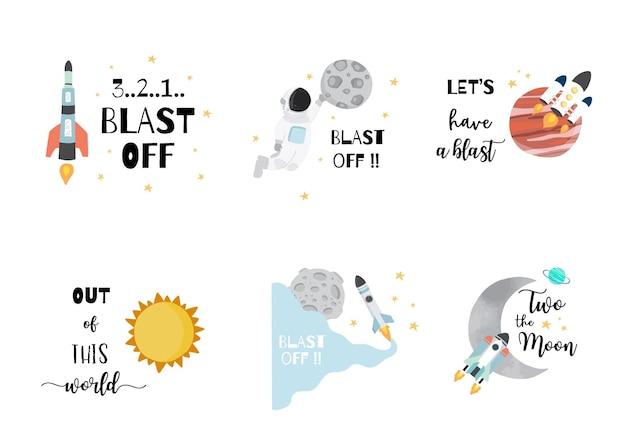 Коллекция космических логотипов с космонавтом, солнцем, луной, звездой, ракетой