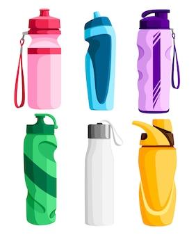 スポーツボトルのコレクション。自転車のペットボトル。野外活動。さまざまな形の水容器。白い背景の上の図