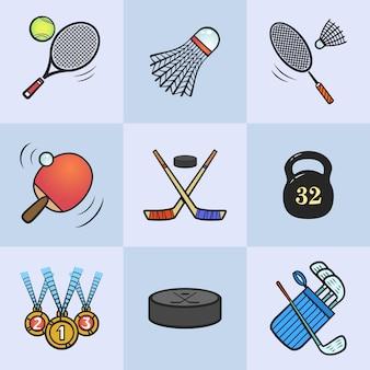 スポーツアイコンのコレクション。着色されたスポーツ用品。アイコンは明るい青の背景に設定します。