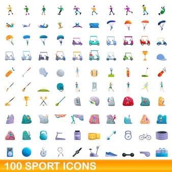 흰색 절연 스포츠 아이콘 모음