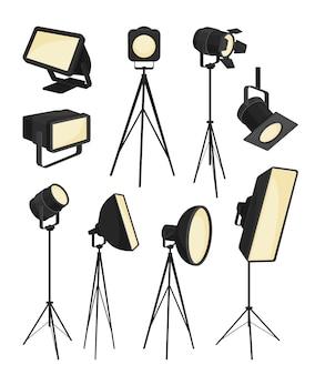 Коллекция прожектор на белом фоне. иллюстрации.