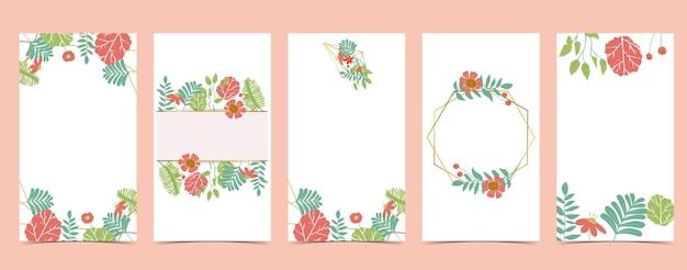 꽃과 함께 봄 휴가의 컬렉션입니다. 초대장 및 엽서 편집 가능한 일러스트레이션