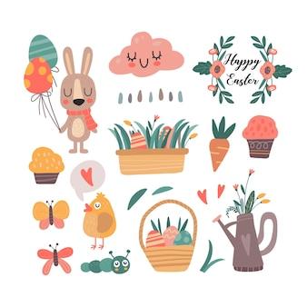 Коллекция весенних милых каваий иллюстраций