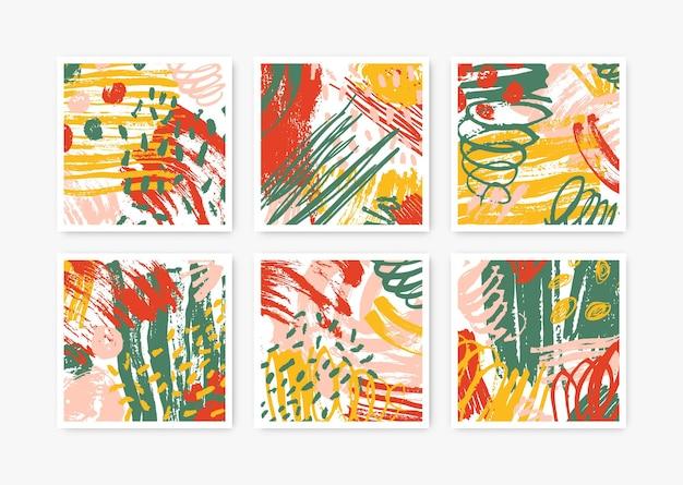 추상적 인 손으로 그린 텍스처와 사각형 작품의 컬렉션