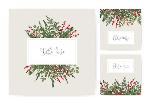 양치류, 야생 허브, 녹색 초본 식물, 홀리 열매 및 필기체 글꼴로 필기 소원이있는 사각형 카드 템플릿 모음