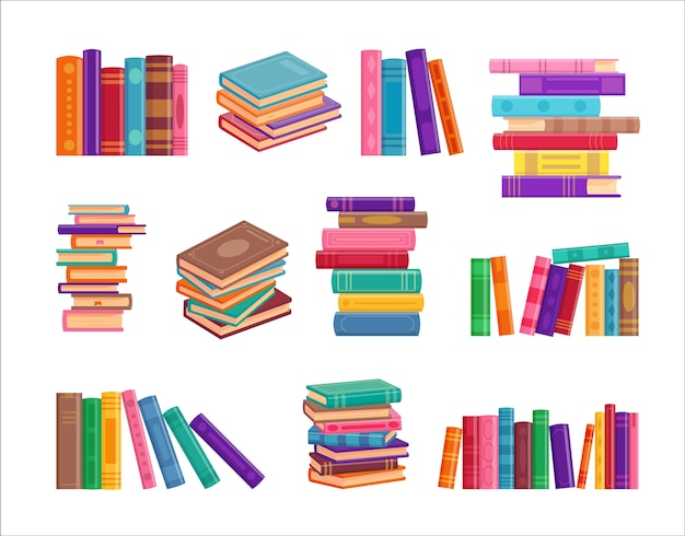 Коллекция стопки книг, изолированные на белом