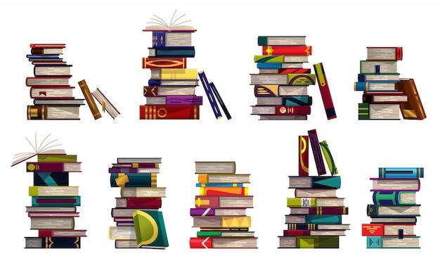 흰색 배경에 화려한 책 더미의 컬렉션입니다. 교육 도서 더미. 지식 개념.