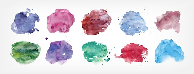 Коллекция пятен ручной росписью акварелью на белом фоне. связка пятен краски разной формы и цвета. набор элементов дизайна акварель. красочные векторные иллюстрации.