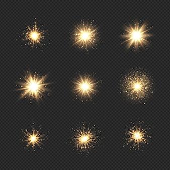 반짝임과 bokeh와 스타 버스트의 컬렉션입니다. 반짝임과 반짝이가있는 황금빛 플레어 효과
