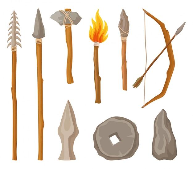 石器時代のシンボル、ツール、白い背景の上の先史時代の人間図の武器のコレクション