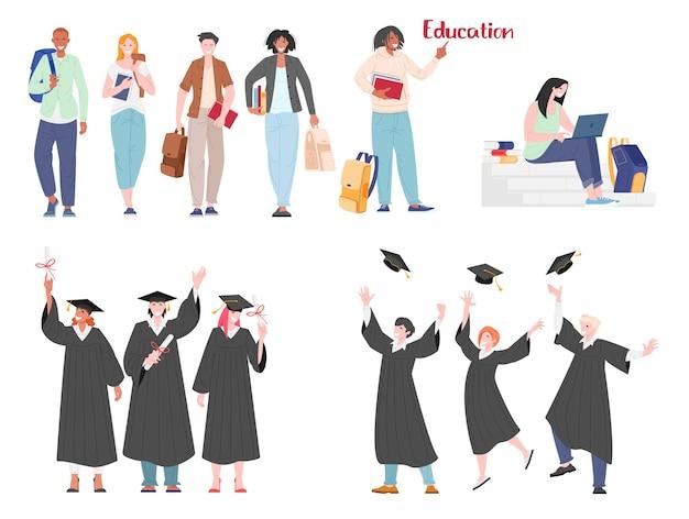 Коллекция персонажей студентов, обучающихся и готовящихся к экзамену в вузе