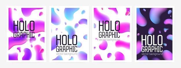 세련된 홀로그램 배경 또는 추상 모양 또는 그라데이션 색상의 둥근 얼룩이 있는 배경 모음 및 텍스트 위치. 포스터, 전단지, 엽서에 대 한 다채로운 벡터 일러스트 레이 션.