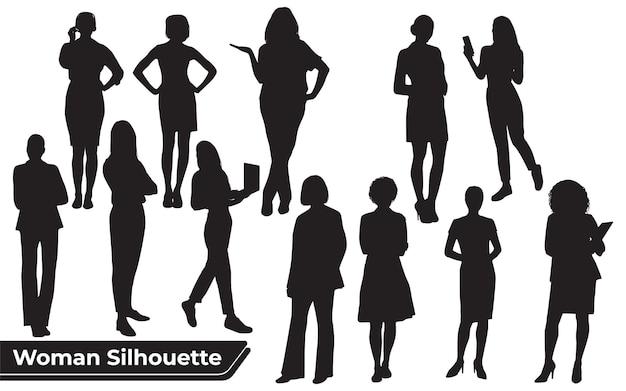 Коллекция силуэтов стильная женщина в разных позах
