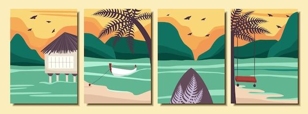 Коллекция летних абстрактных плакатов с пейзажем океана пляж пальмы лодка