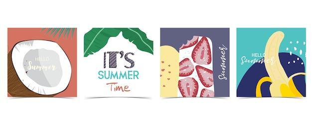 Коллекция летнего фона с кокосом, бананом. привет лето