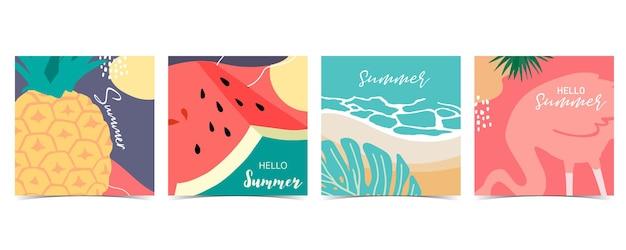 パイナップル、スイカをセットした夏の背景のコレクション。こんにちは夏