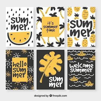 Коллекция летних карт ручной работы в винтажном стиле