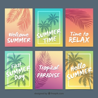 Collection of summer cards in different colors