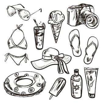 スケッチスタイルの夏要素のコレクション。