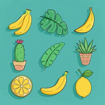 Коллекция летних элементов с бананом, кактусом и лимоном