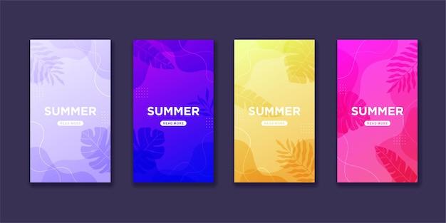 Коллекция летних историй instagram в градиенте