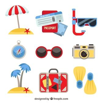 평면 디자인 여름 여행 요소의 컬렉션