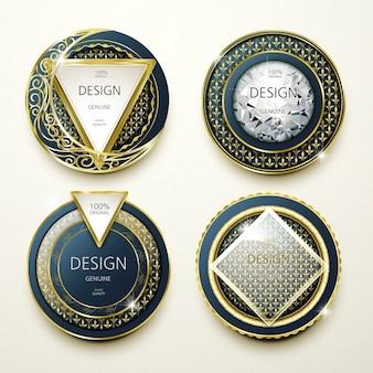 화려한 금과 보석 레이블 디자인 모음 컬렉션