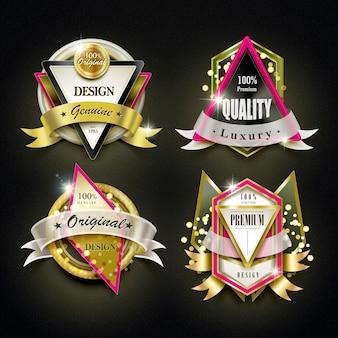 豪華なゴールデンラベルデザインセットのコレクション