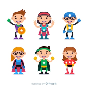 Collection of superhero kids