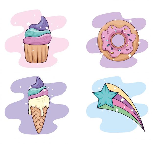 Коллекция сладких и фантазийных элементов иллюстрации
