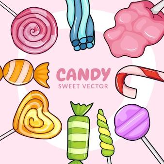漫画風の甘いお菓子のコレクション